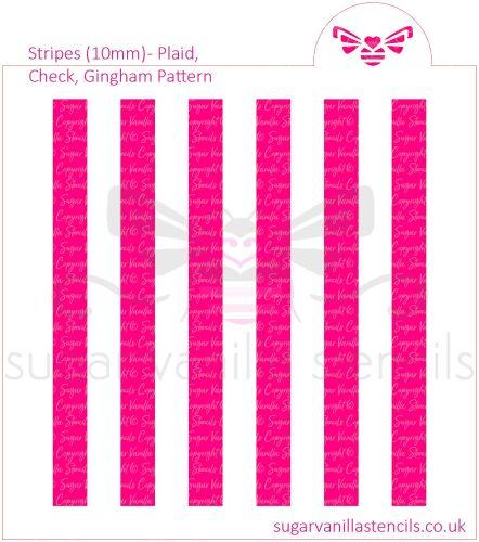 Stripes Cookie Stencil - Plaid / Check / Gingham (10mm)
