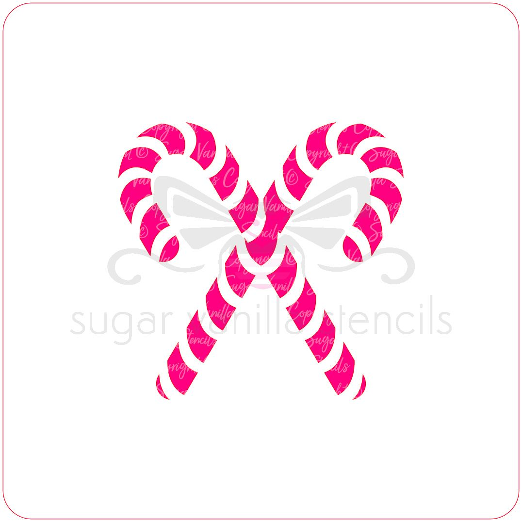 Candy Canes Cupcake Stencil