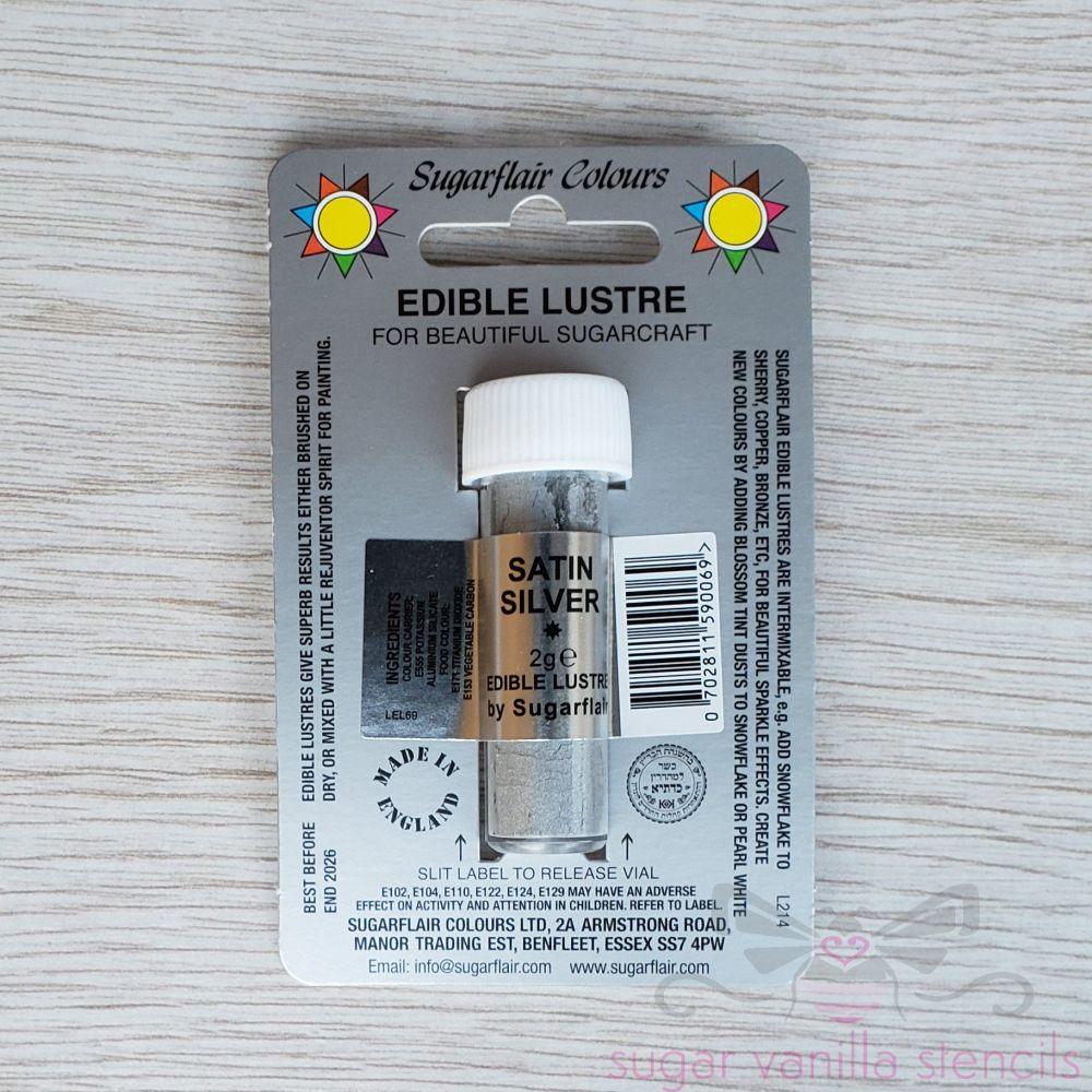 Satin Silver - Sugarflair Lustre Dust