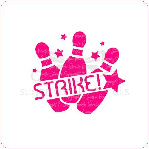 Ten Pin Bowling Strike! Cupcake Stencil