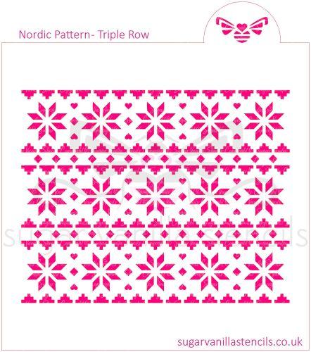 Nordic Pattern Cookie Stencil (Triple Row)