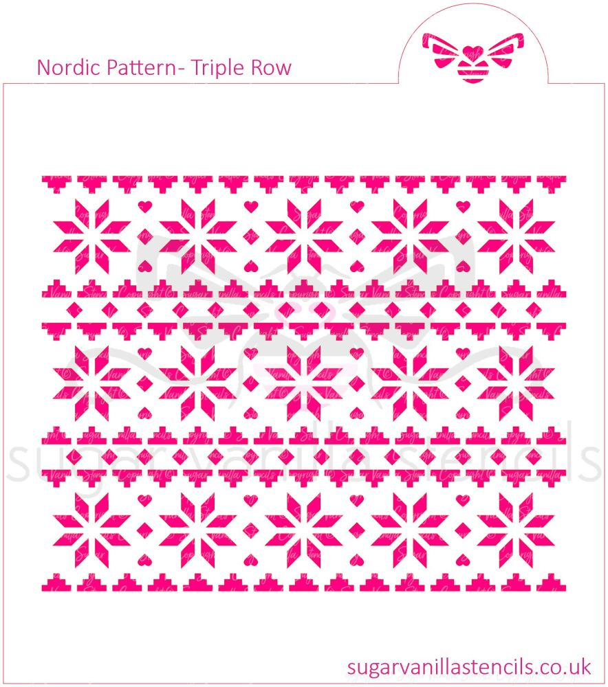 Nordic Pattern Cookie Stencil (Triple Row)