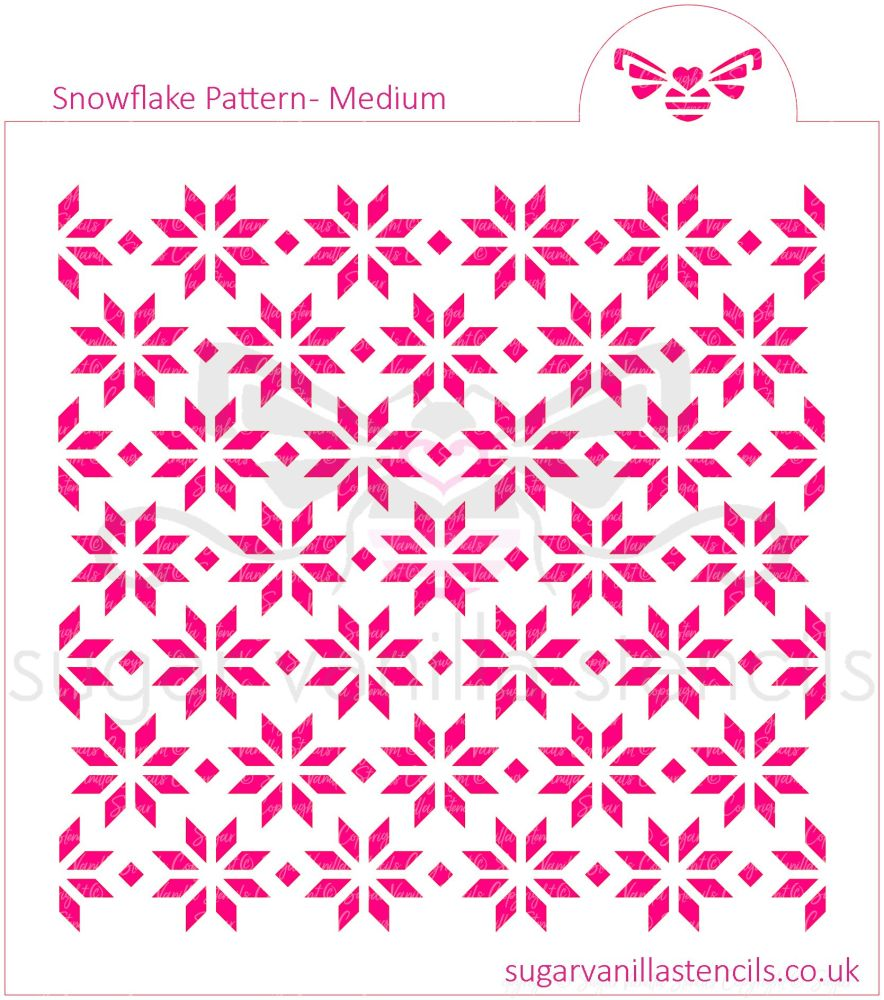 Snowflake Pattern Cookie Stencil - Medium