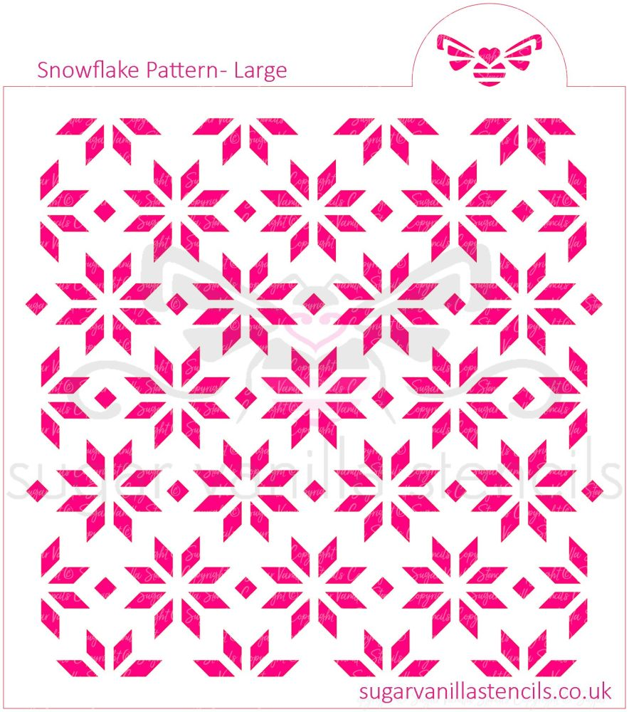 Snowflake Pattern Cookie Stencil - Large