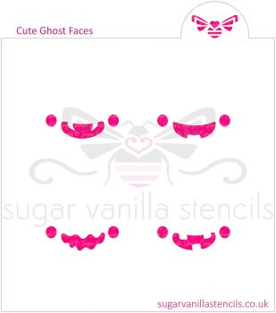 Cute Ghost Faces Cookie / Oreo / Macaron Stencil