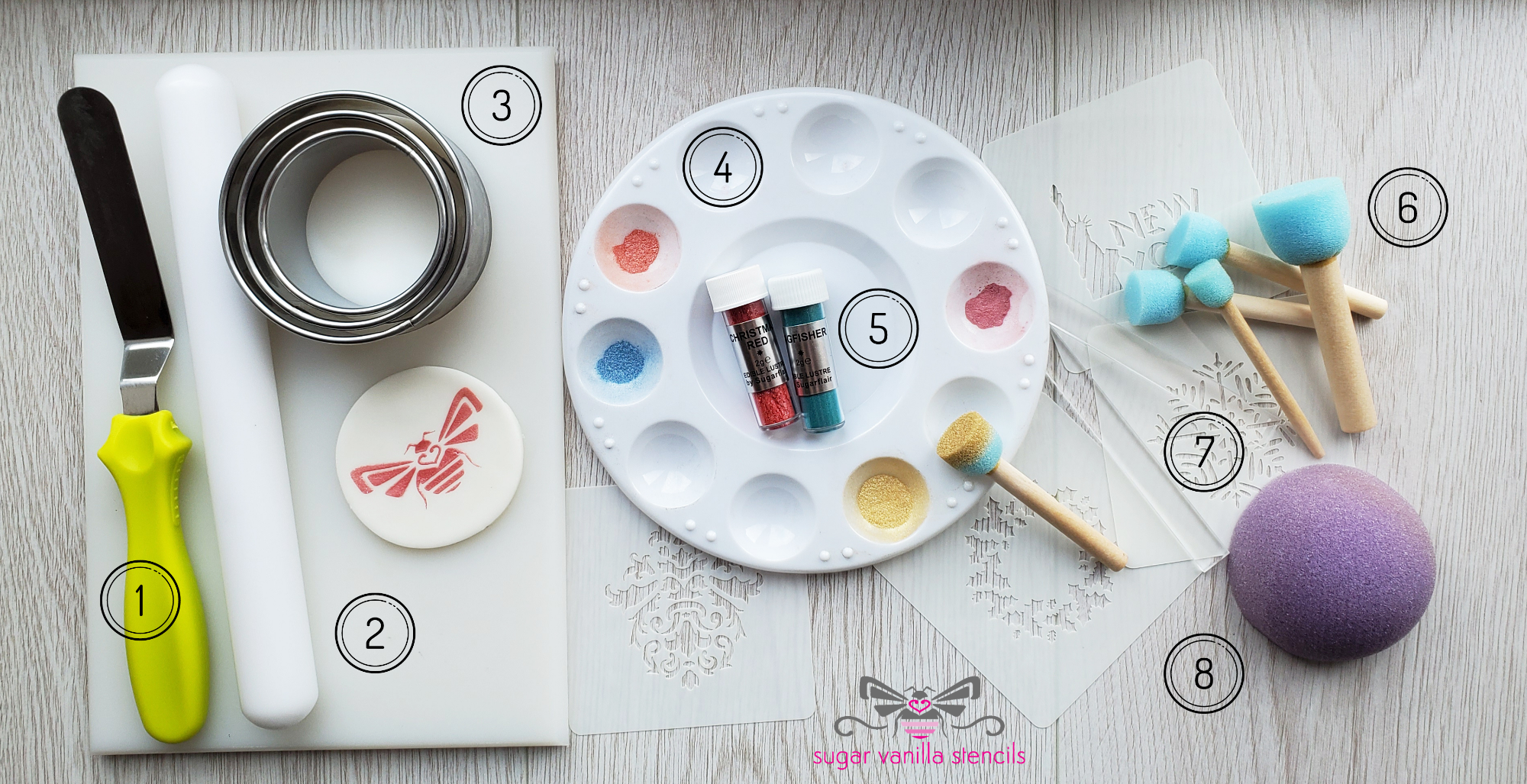 Selection of tools for stencilling cupcake toppers with lustre dusts
