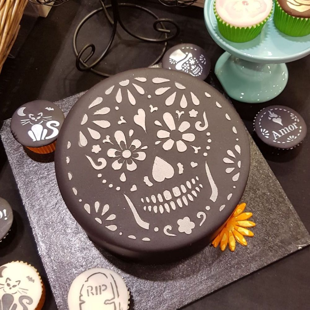 "Sugar Skull Cake Top Stencil (8"" large)"