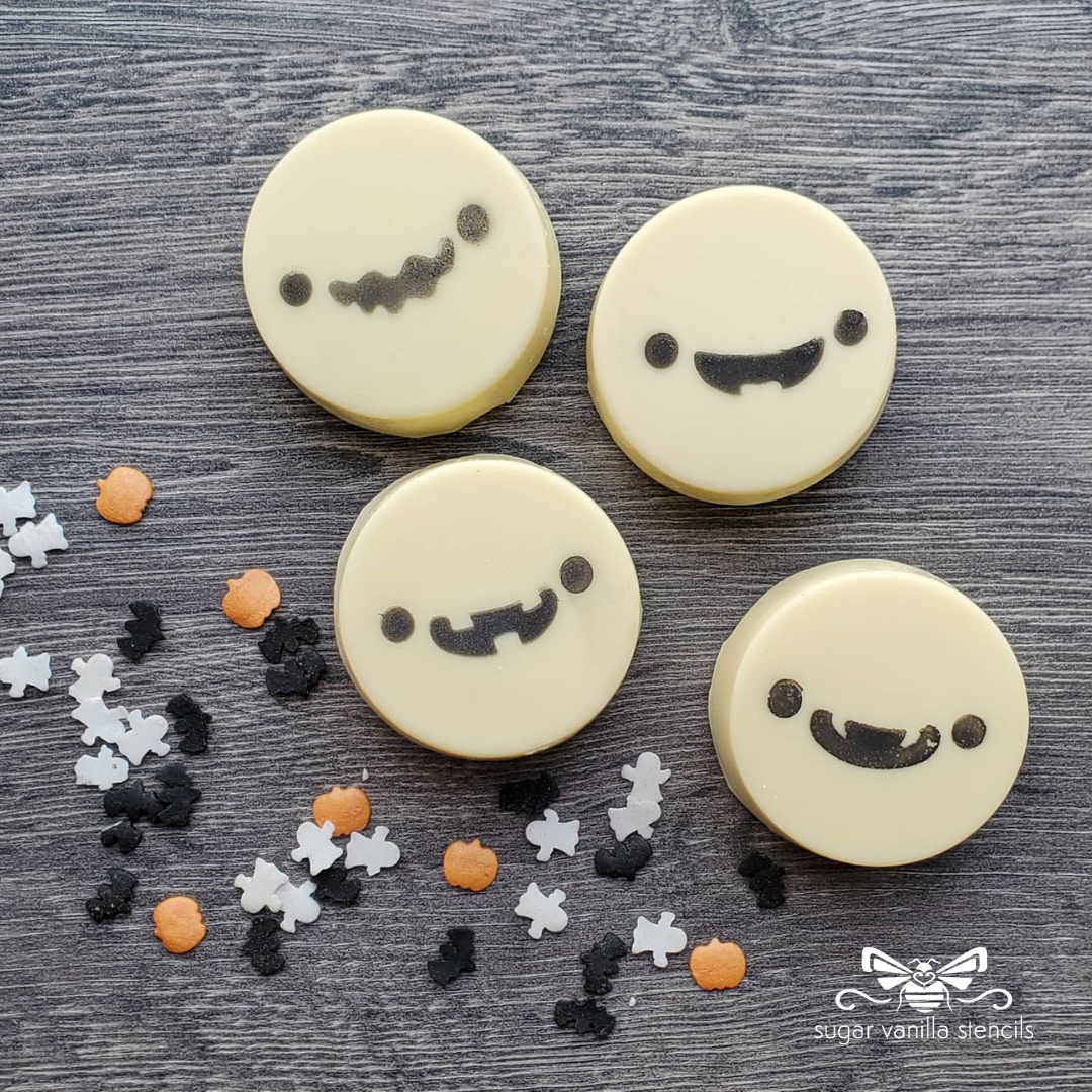 Cute Ghost Faces Cookie / Oreo / Macaron Stencil