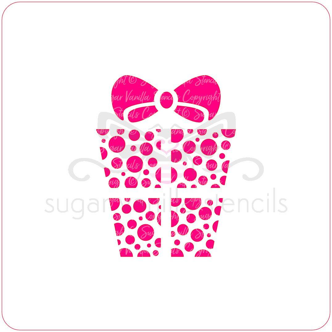Present Cupcake Stencil - Dotty