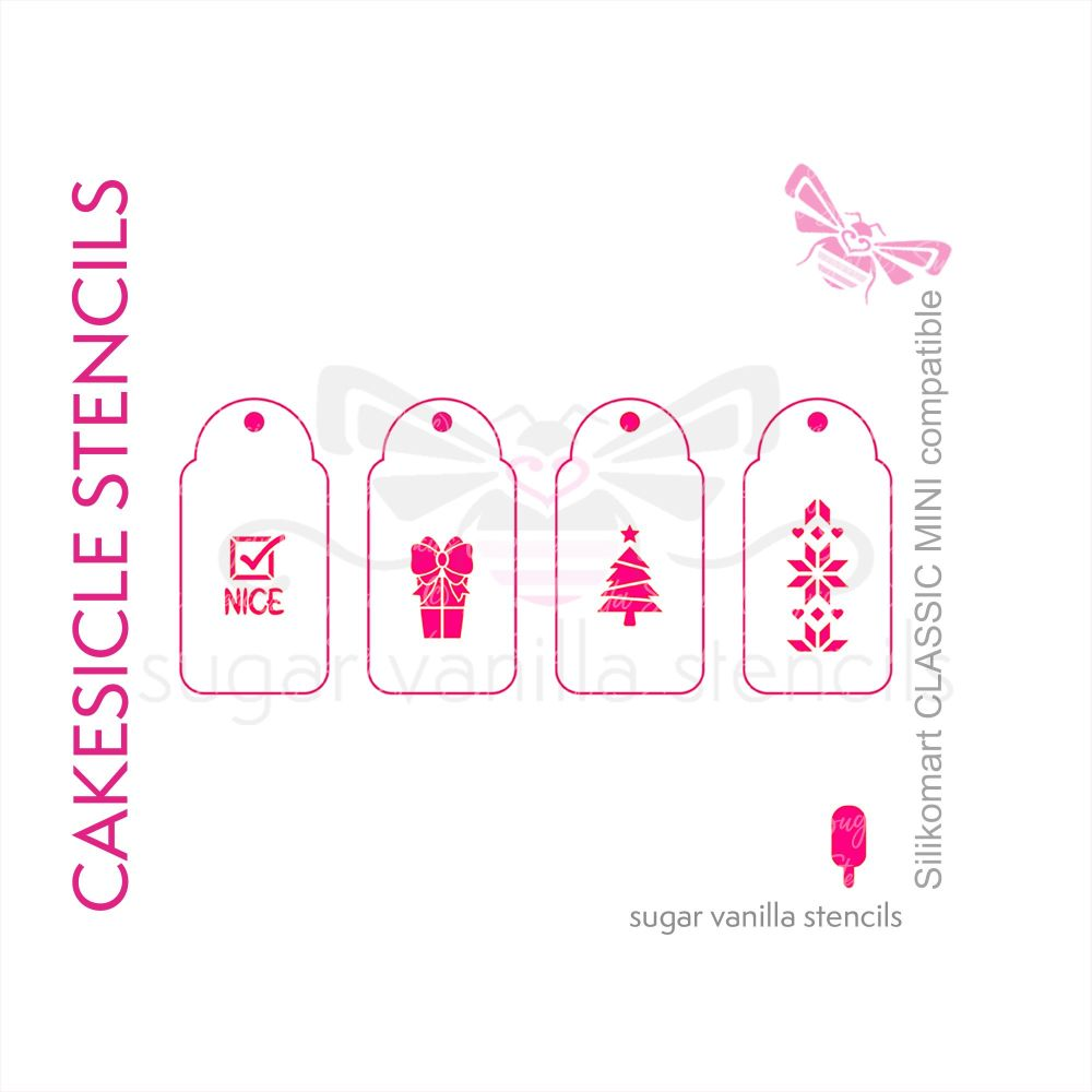 'Xmas Tree' Christmas Cakesicle Stencil Set - Small
