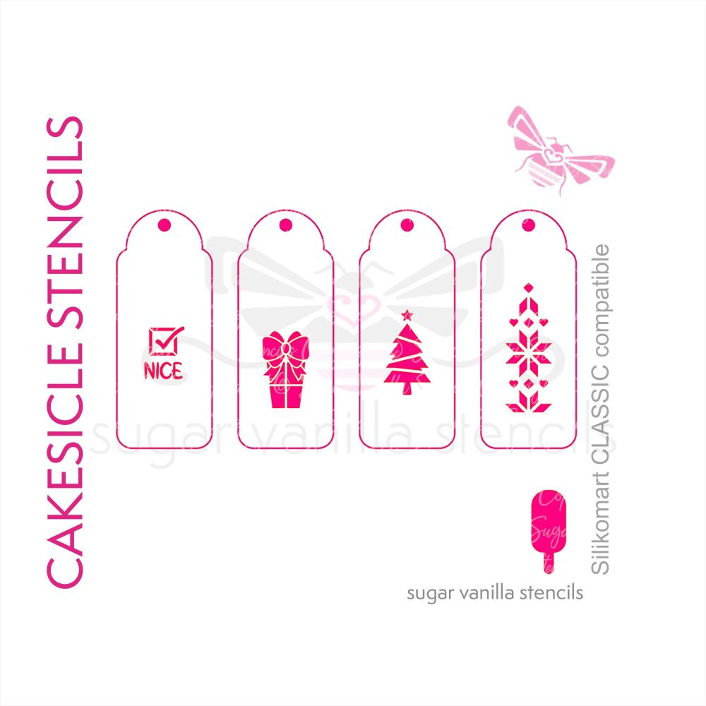 'Xmas Tree' Christmas Cakesicle Stencil Set - Large