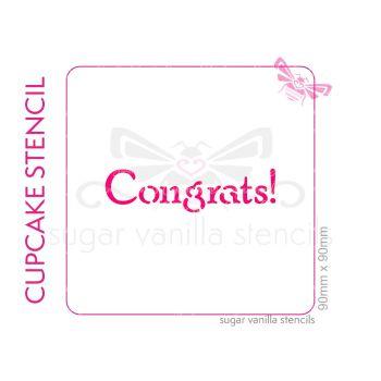 Congrats Cupcake Stencil