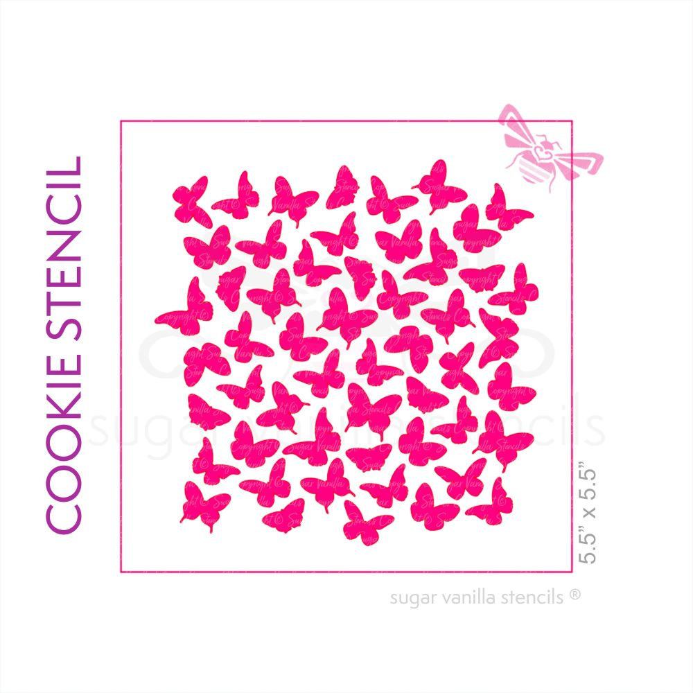 Flutterbys Cookie Stencil - Large