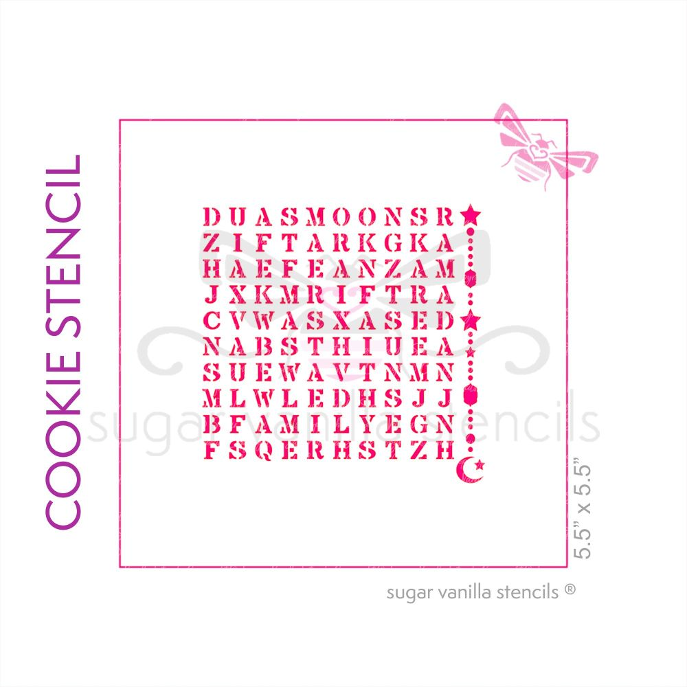 Eid Wordsearch Cookie Stencil - Hanging Lanterns and Crescent