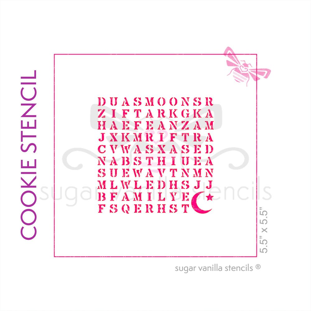 Eid Wordsearch Cookie Stencil - Crescent