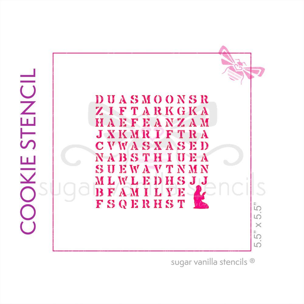 Eid Wordsearch Cookie Stencil - Prayer