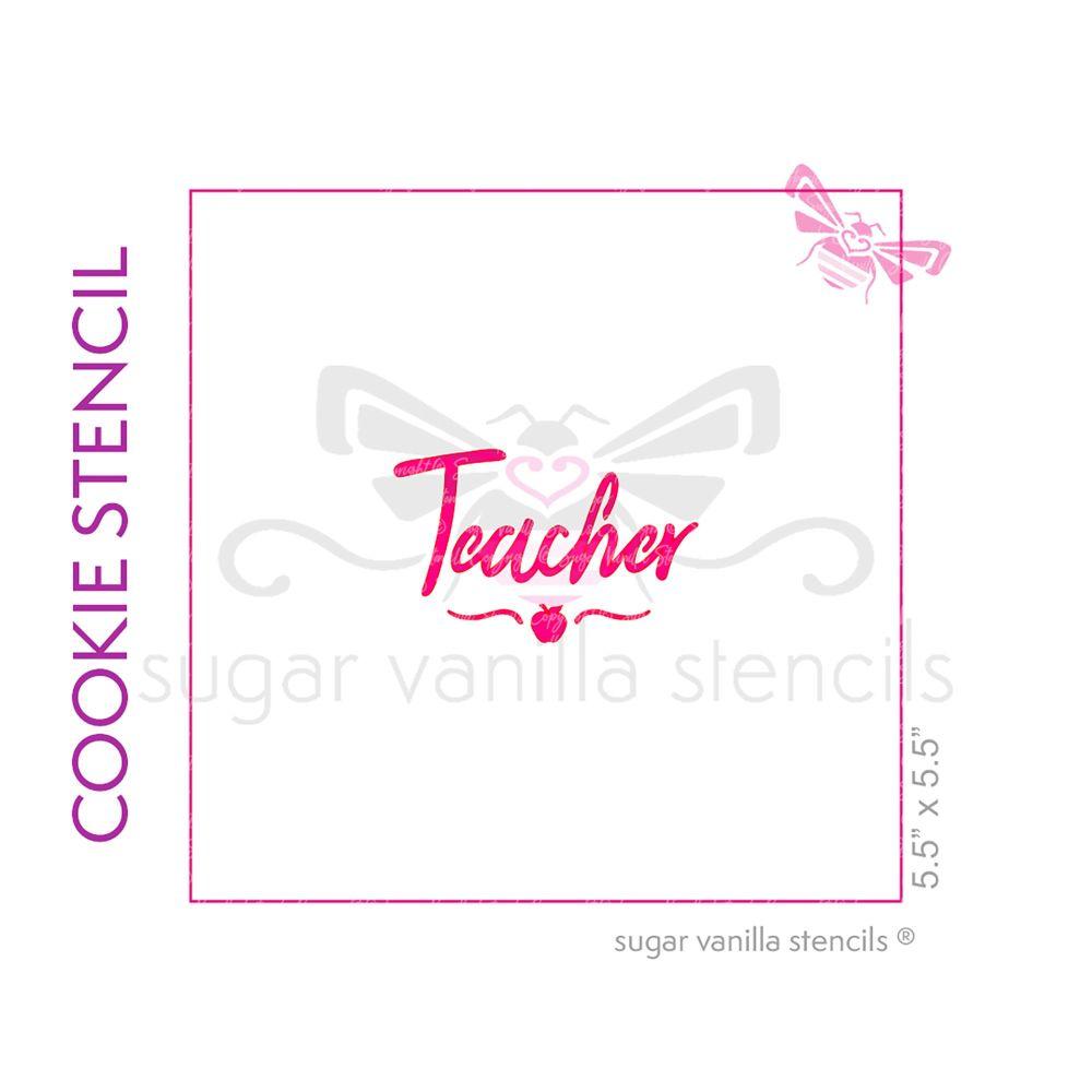 Teacher Cookie Stencil (with apple & swirl)