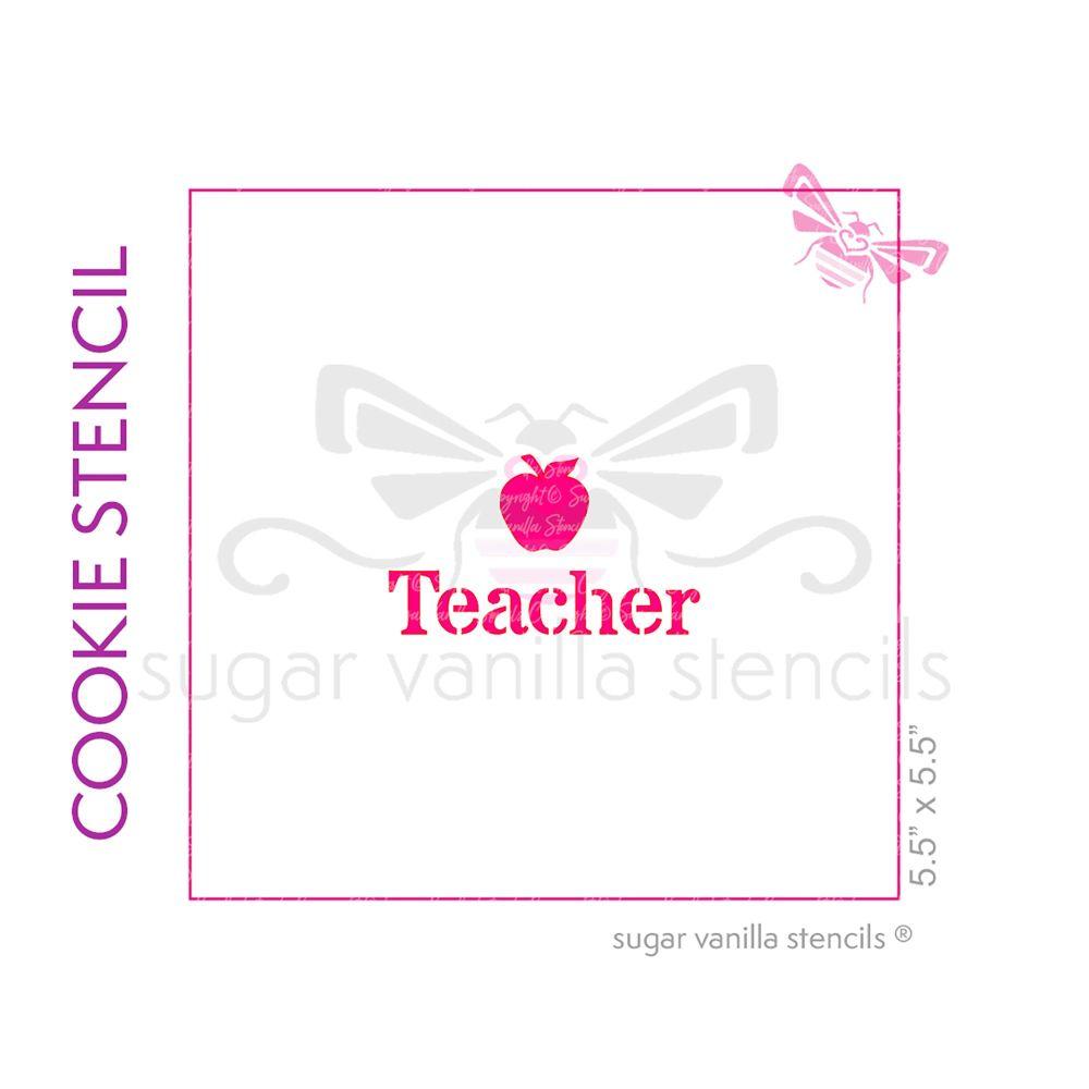 Teacher Cookie Stencil (with applel)