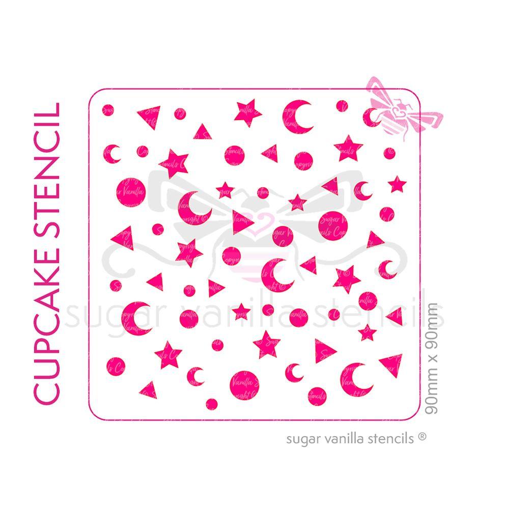 Magic Sprinkles #2 Cupcake Stencil