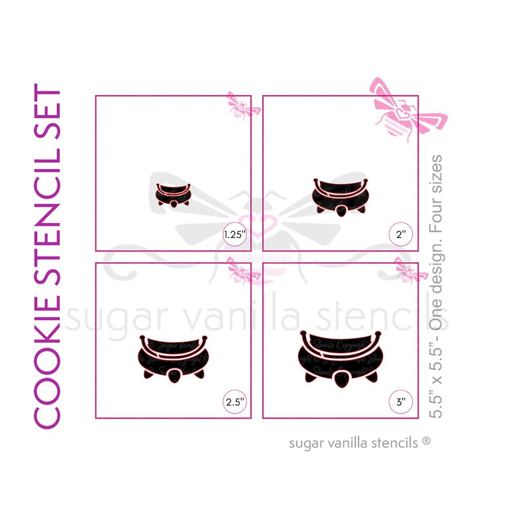Cauldron Cookie Stencils - Set of 4 sizes