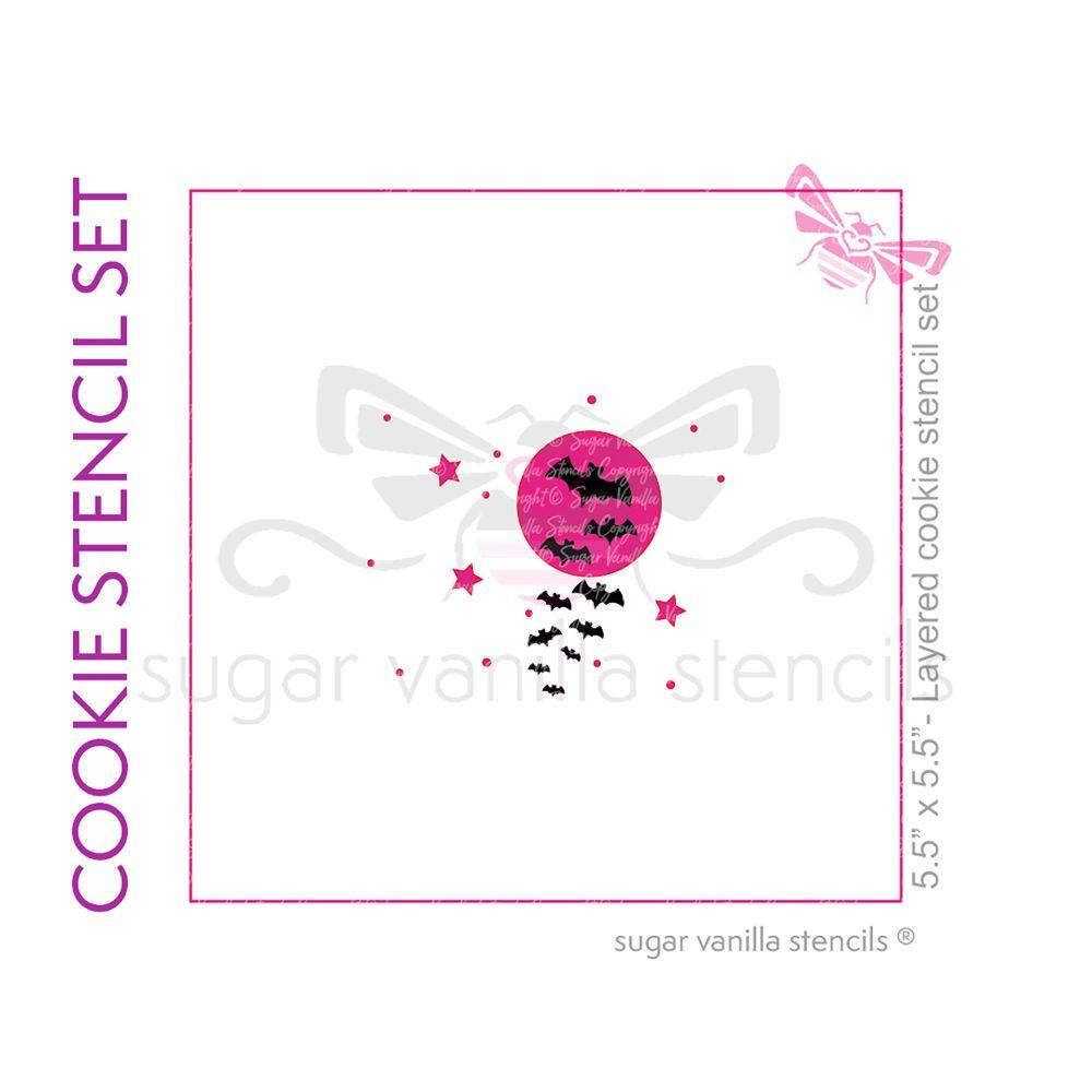 Moon & Bats Cookie Stencil Set (2 Stencils)