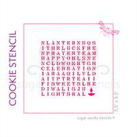 Diwali Wordsearch Cookie Stencil