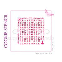 Diwali Wordsearch Cookie Stencil - Mehndi Pattern
