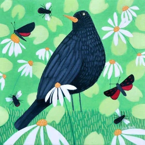 A colourful painting of a blackbird and six spot burnet moths.