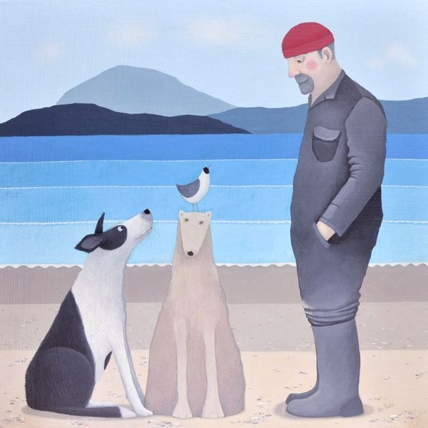 A man builds a sand dog on the beach in this fun painting by award winning Scottish Artist Ailsa Black