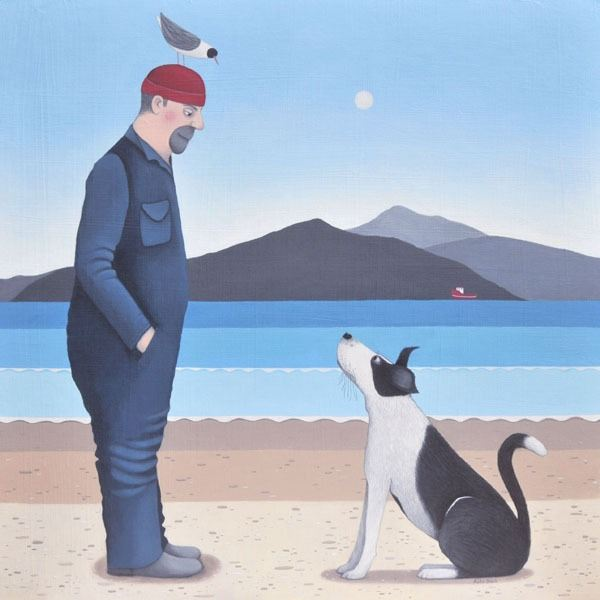 A painting showing a man having a humorous conversation with his dog about a bird sitting on his head.
