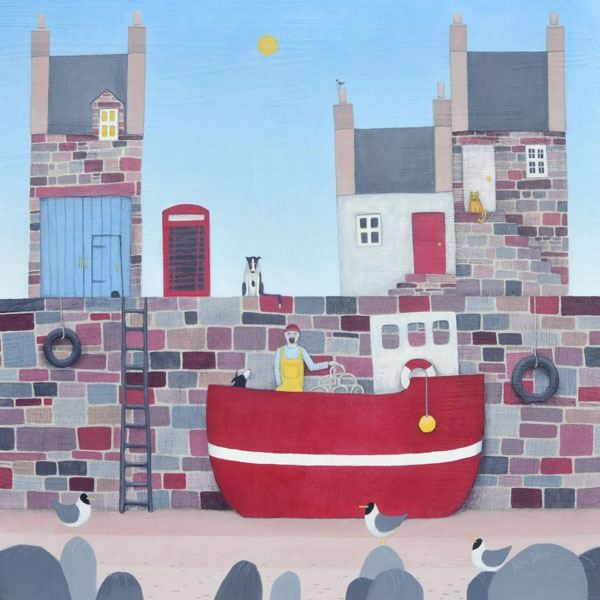 A painted harbour scene with a red telephone box and collie dog on the harbour wall from painter and illustrator Ailsa Black