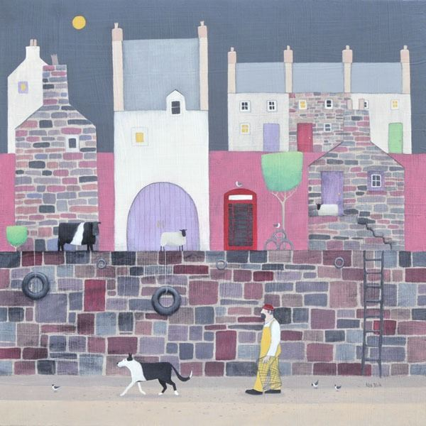A colourful pink painting of a harbour scene with a fisherman and his collie dog gathering up the lobster pots.
