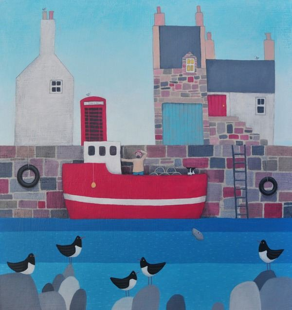 A large red fishing boat sits in the harbour in this colourful hgarbour scene by Scottish painter Ailsa Black