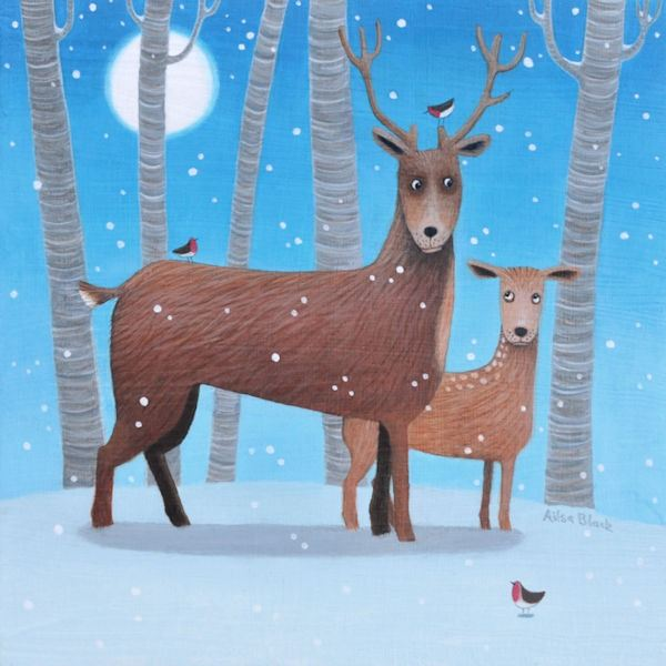 A deer and it's fawn walk through the forest in this winter painting of a snowy, frosty night in Scotland.