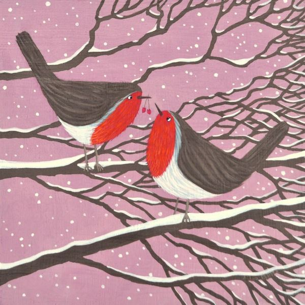 A colourful painting of two robins on bare branches in the snow.