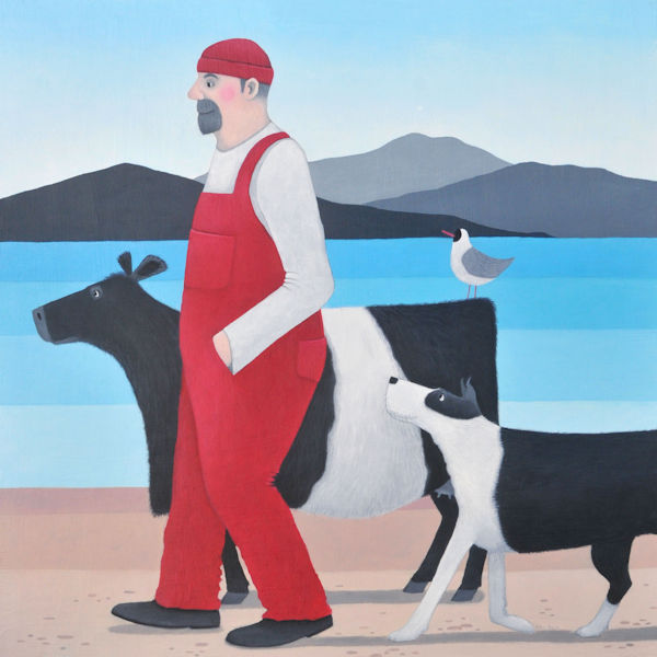 A man, belted galloway and collie dog walk on the beach in this painting by ailsa black