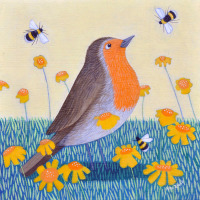 """Deep in Orange"" Robin and bumble bees in flowers medium print"