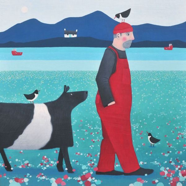 A man leads his belted galloway home across the fileds in this painting by ailsa black