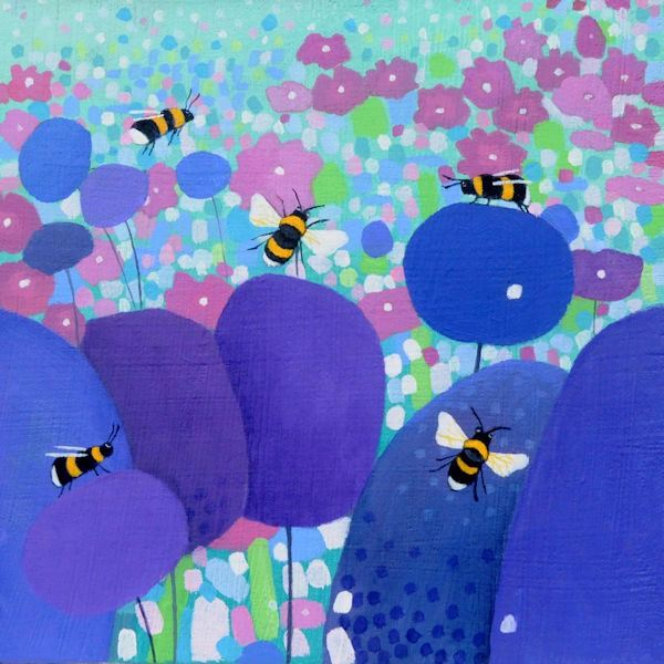 a painting by scottish artist ailsa black of bees and flowers.
