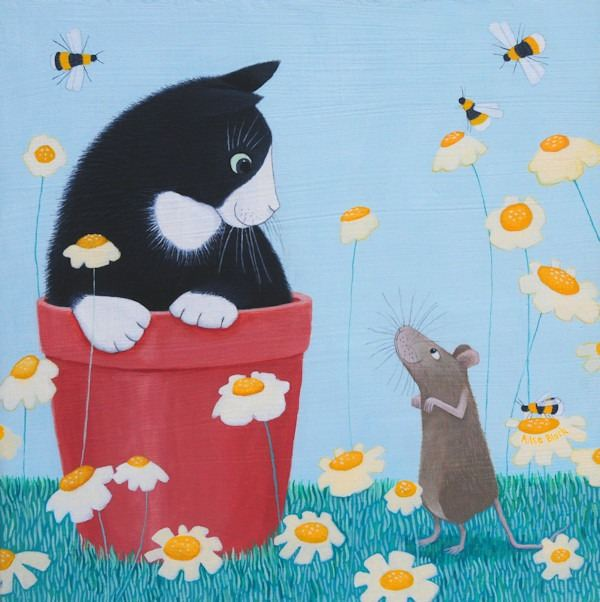 a fun painting of a cat in a flowerpot with a mouse by ailsa black