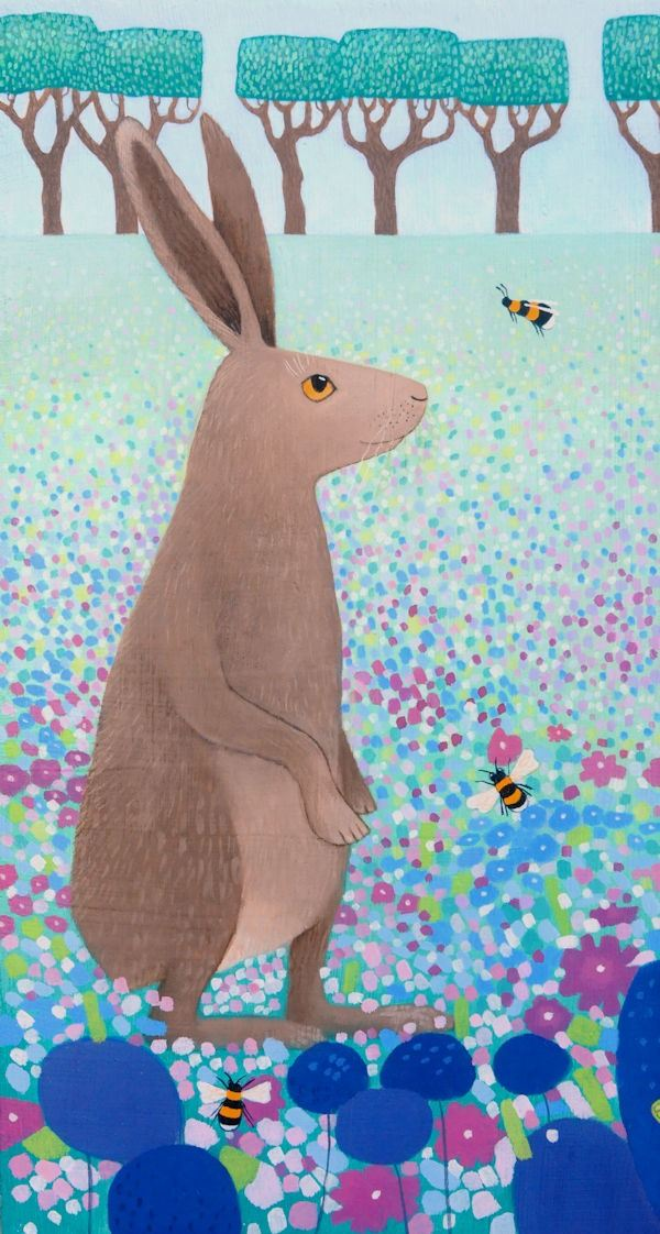 a colouful painting of a hare and bees by ailsa black