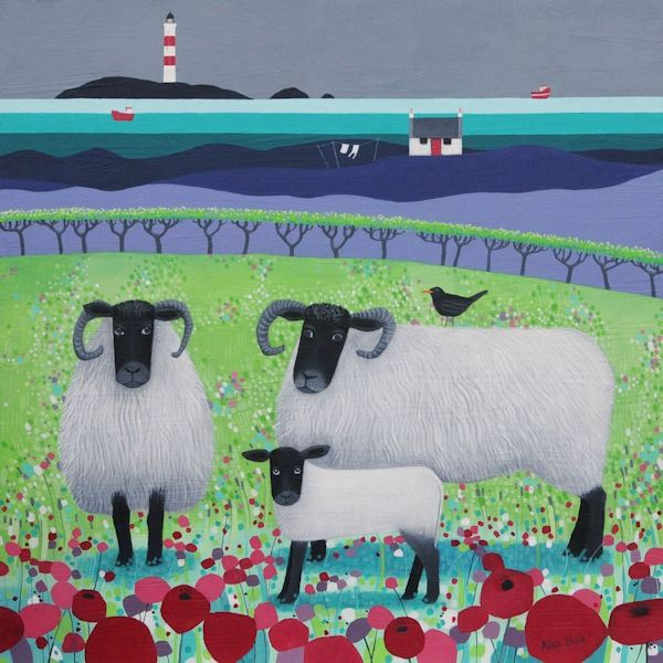 a painting of black faced sheep standing by a colorful lighthouse by scottish artist ailsa black - a scene of scotland