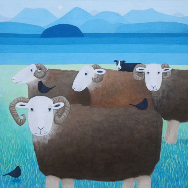 herdwick sheep stand while watched by a collie dog in this painting by artist ailsa black