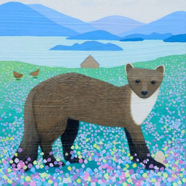 a painting of a pine marten by ailsa black from scotland