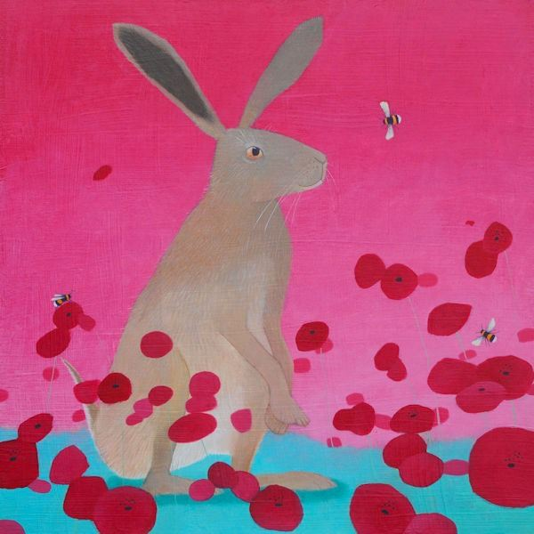 a very colourful pink painting of a hare and poppies by ailsa black