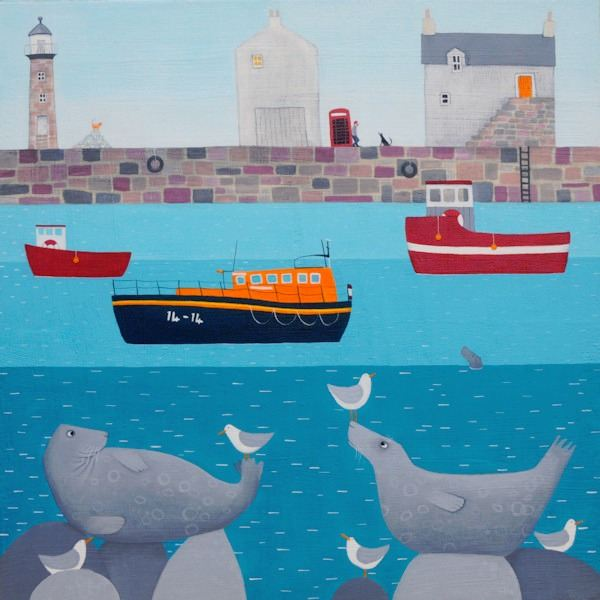 A colourful painting of Whitby Lifeboat sitting in the harbour.