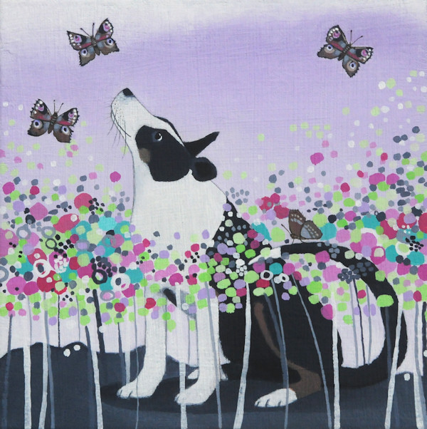 a painting of a collie dog and butterflies by ailsa black