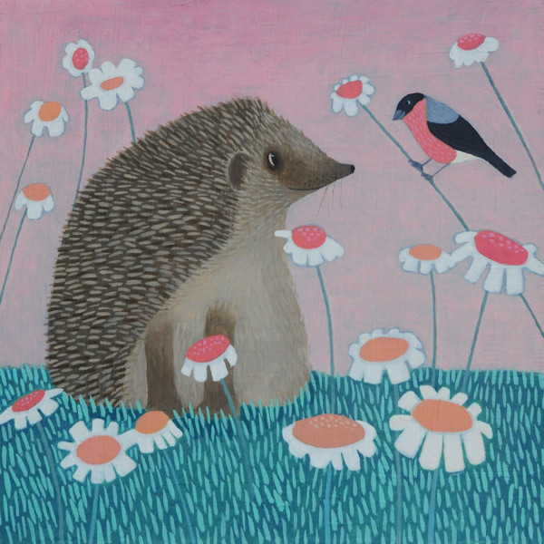 a fun and humerous painting of a hedgehog and bullfinch by naive artist ailsa black