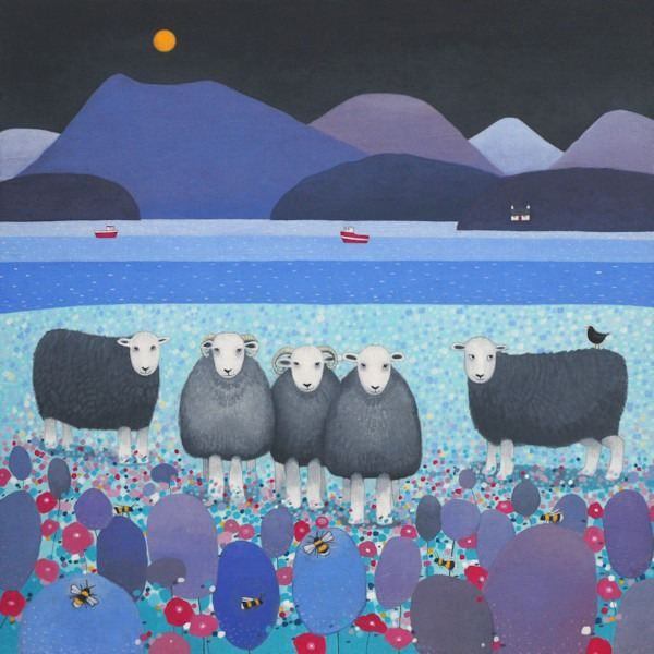a painting of herdwick sheep grazing in the lake distrcit by ailsa black