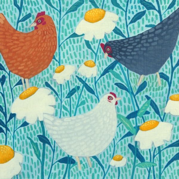 A colouful painting of chickens